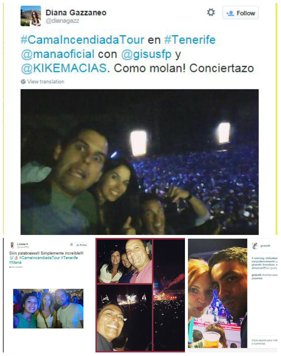 collage de selfies concierto